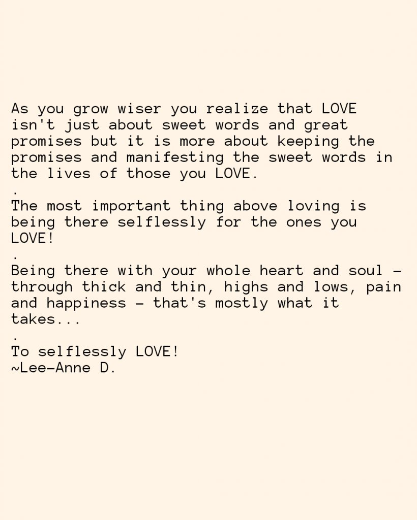 Motivational quote on selfless love